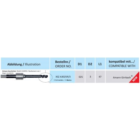 HORICO CAD/CAM Fräser XSZ A3025R/3 kompatibel mit Amann Girrbach beschichtet 3 Schneiden